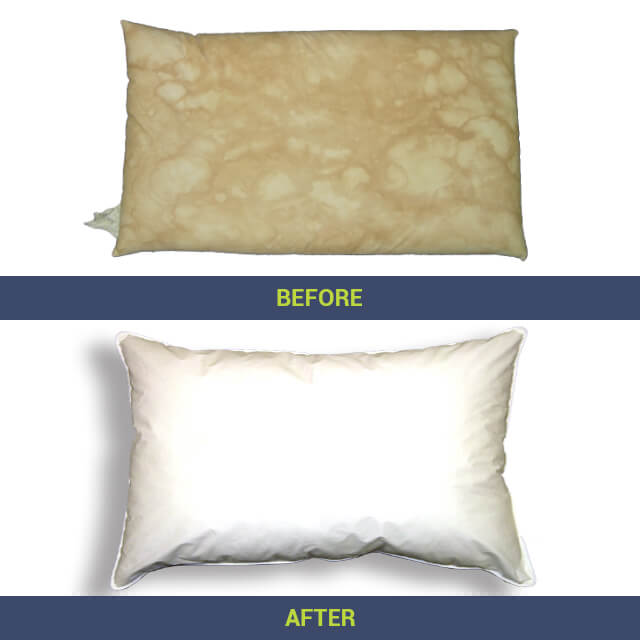 dirty clean pillows before after using pillow vac pillow
